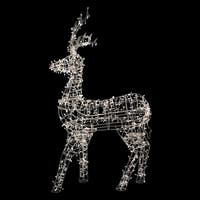 """60"""" White LED Lighted Standing Reindeer Outdoor Christmas Decoration - Warm White Lights"""
