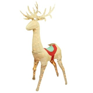 "60"" Pre-Lit Rustic Burlap Standing Reindeer Christmas Yard Art Decoration"