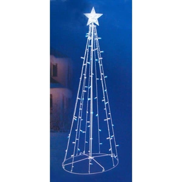 5 blue white led lighted outdoor twinkling christmas tree yard art - Blue And White Outdoor Christmas Decorations