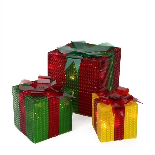 Shop 3-Piece Glistening Prismatic Gift Box Lighted