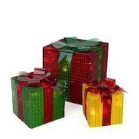 3-Piece Glistening Prismatic Gift Box Lighted Christmas Yard Art Decoration Set