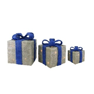 Set of 3 Sparkling Blue and Silver Sisal Gift Boxes Lighted Christmas Yard Art Decorations
