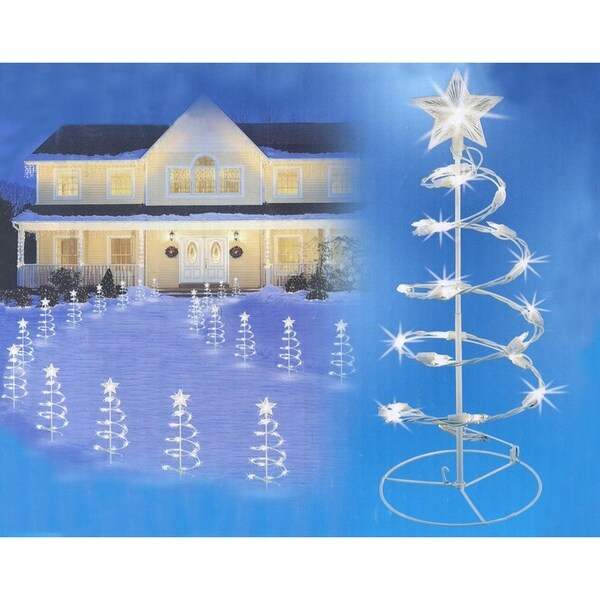 set of 3 clear lighted outdoor spiral walkway christmas trees yard art 18