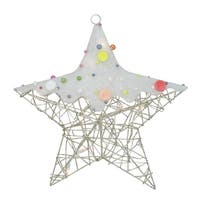 "19"" Lighted Champagne Gold Glittered Rattan Candy Covered Hanging Star Christmas Window Decoration"