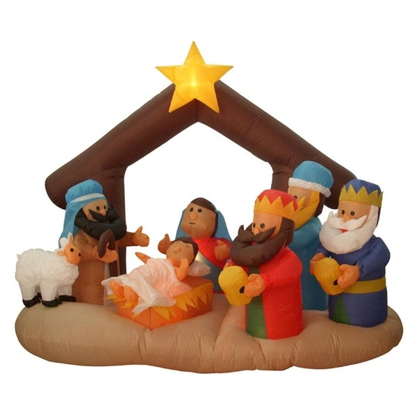 65 inflatable nativity scene lighted christmas yard art decoration - Lighted Christmas Yard Decorations