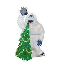 """32"""" Pre-Lit Faux Fur Bumble with Tree and Star Christmas Yard Art Decoration"""