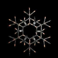 "35.5"" Folding Lighted Twinkling Snowflake Christmas Window Decoration - Clear Lights"