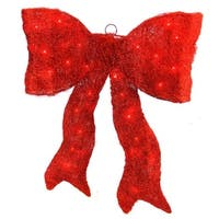 """18"""" Lighted Sparkling Red Whimsical Sisal Bow Christmas Yard Art Decoration"""