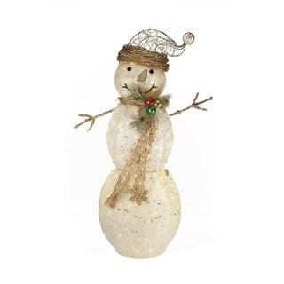 """43"""" Elegant White Sisal Glittering Lighted Snowman Christmas Yard Art Decoration"""
