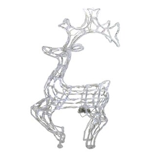 "34"" LED Lighted Standing Buck Deer Spun Glass Christmas Yard Art Decoration - Polar White Lights"