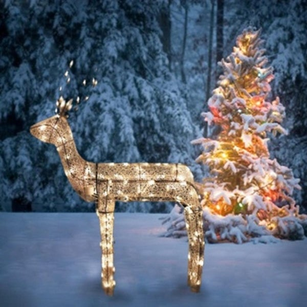 48 3 d glitter animated standing buck reindeer lighted christmas yard art decoration - Lighted Animals Christmas Decoration