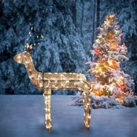 "48"" 3-D Glitter Animated Standing Buck Reindeer Lighted Christmas Yard Art Decoration - Clear Lights"