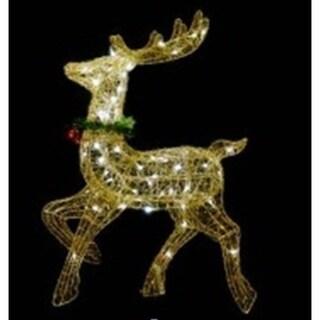 "25"" Pre-lit Gold Glittered Prancing Reindeer Christmas Yard Art Decoration"