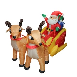 7' Inflatable Lighted Santa Claus and Sleigh Christmas Yard Art Decoration