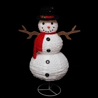 "48"" Pre-Lit Outdoor Chenille Swirl Snowman w/ Top Hat Christmas Yard Art Decoration"