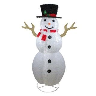 "72"" Pre-Lit Outdoor Chenille Swirl Large Snowman w/ Top Hat Christmas Yard Art Decoration"