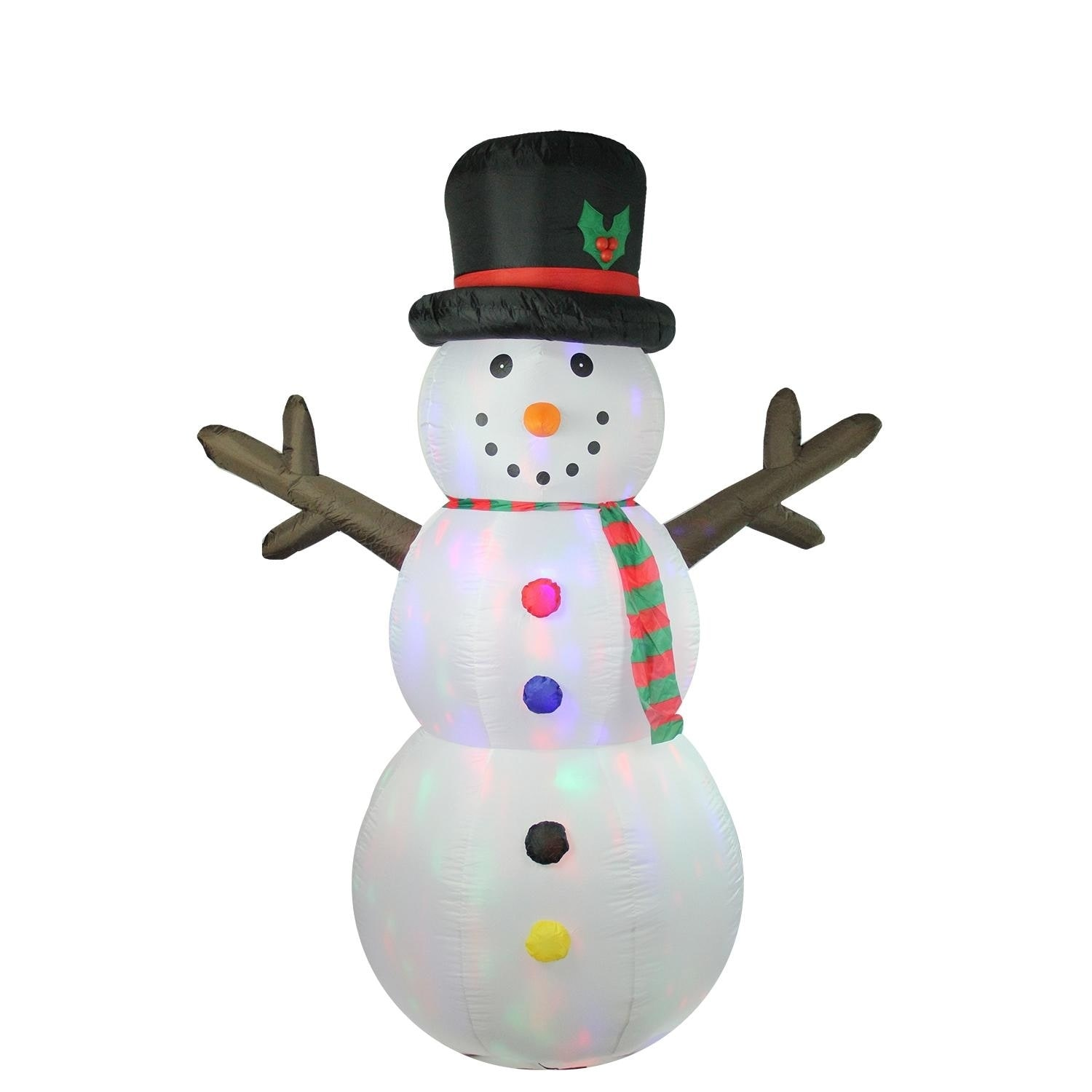 Lb International 8' Inflatable Lighted Twinkle Snowman Ch...