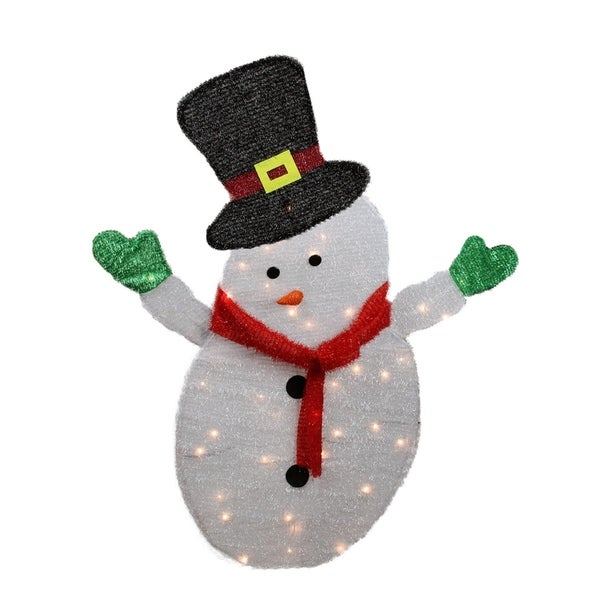 0bcbac60aeebd 4' Lighted Winter Snowman with Top Hat Outdoor Christmas Yard Art  Decoration - Clear Lights
