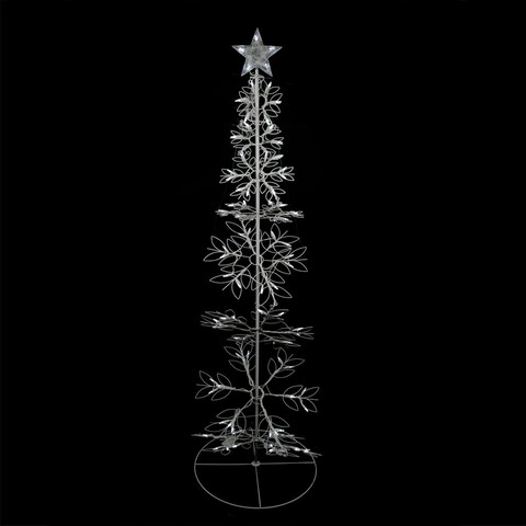 6' Cool White LED Lighted Outdoor Meteor Effect Snowflake Hoop Christmas Tree Yard Art Decoration