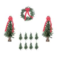 Pre-lit B/O Traditional Pine Artificial Outdoor Christmas Entrance Set- Clear Lights