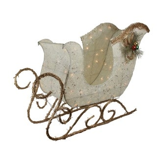 "39"" Elegant White Sisal Glittering Lighted Christmas Sleigh Yard Art Decoration"