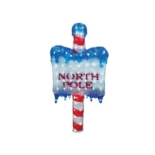 """33"""" Lighted Commercial Grade Acrylic """"NORTH POLE"""" Christmas Sign Display Decoration"""