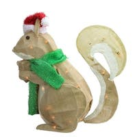 "28"" Pre-Lit  Outdoor Burlap Squirrel with Santa Hat Christmas Yard Art Decoration"
