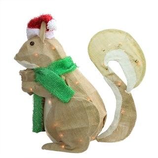 "28"" Pre-Lit Outdoor Burlap Squirrel with Santa Hat Christmas Yard Art Decoration"