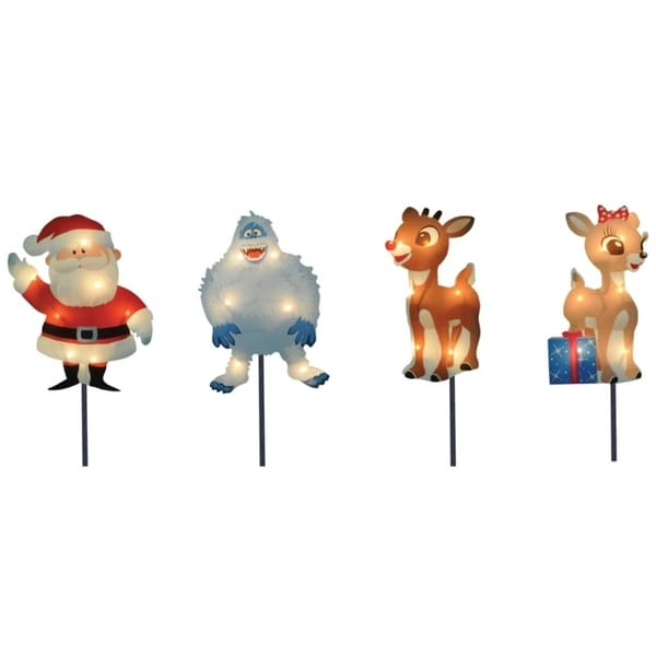 f873690fd Shop Set of 4 Pre-Lit Rudolph the Red-Nosed Reindeer Christmas Pathway  Markers - Clear Lights - Free Shipping Today - Overstock - 17400107
