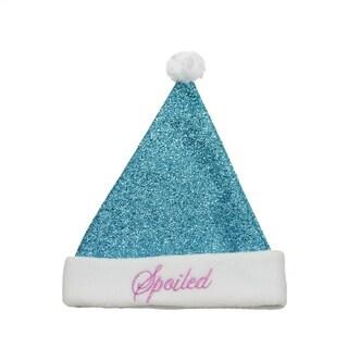 "14"" Sparkling Metallic Turquoise Blue ""Spoiled"" Christmas Santa Hat - Medium"