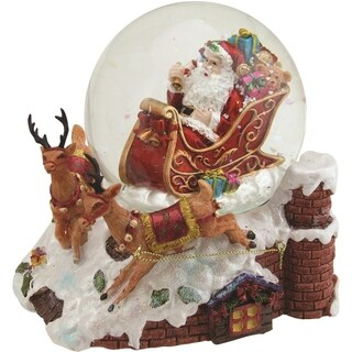 "6.5"" Santa Claus on Sleigh with Reindeer Musical Christmas Snow Globe Glitterdome"