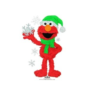 "6.5"" Sesame Street Elmo with Snowflakes Jelz Christmas Window Cling"