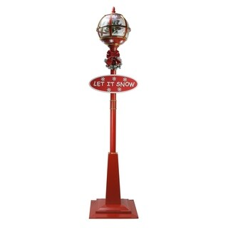 "69"" Lighted Red and Gold Musical Snowing Christmas Tree Street Lamp"
