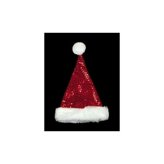 "19"" Sparkling Red and White Metallic Sequin Glitter Christmas Santa Hat - Adult Size"