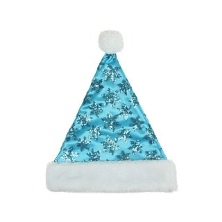 "14"" Blue Sequin Snowflake Christmas Santa Hat with White Faux Fur Brim - Medium Adult Size"