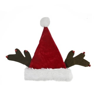 "17"" Whimsical Santa Claus with Jingle Bell Reindeer Antlers Christmas Hat"