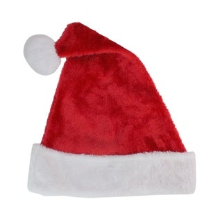 "17"" Traditional Red and White Plush Christmas Santa Hat - Adult Size Large"