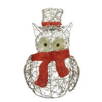 "21"" Lighted Glitter Rattan Owl Christmas Yard Art Decoration"
