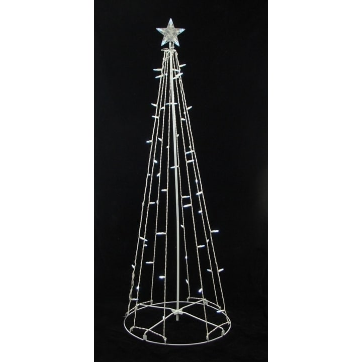 Sienna 5' Cool White LED Lighted Outdoor Show Cone Christ...