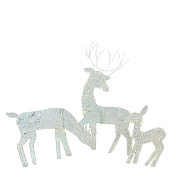 3 piece white glittered doe fawn and reindeer lighted christmas yard art decoration set