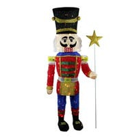 "65"" Lighted Sparkling Tinsel Nutcracker Christmas Yard Art Decoration"