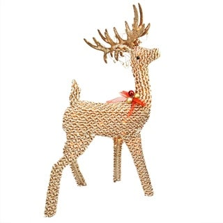 "48.5"" Pre-Lit Brown and White Striped Chenille Reindeer Yard Art Decoration"