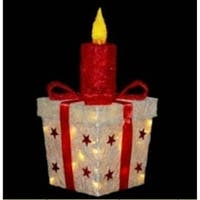 "20"" Lighted Sparkling Red and White Sisal Present with Candle Christmas Yard Art Decoration"