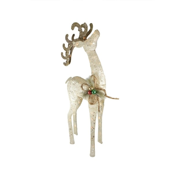 46 lighted sparkling sisal white reindeer christmas yard art decoration