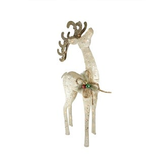 "46"" Lighted Sparkling Sisal White Reindeer Christmas Yard Art Decoration"