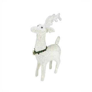 "28.5"" Lighted White Plush Glittered Reindeer Christmas Yard Art Decoration"
