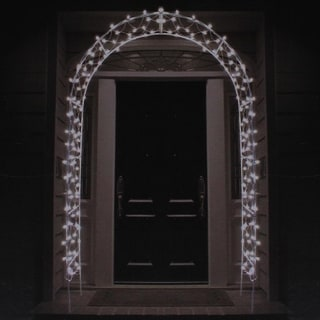 8' Lighted Entryway Front Door Archway Christmas Yard Art Decoration - Clear Lights