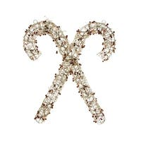 """25"""" Lighted Champagne Gold Glittered Rattan Double Candy Cane Christmas Yard Art or Window Decoration"""