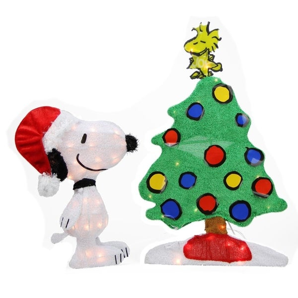 24 pre lit 2 d peanuts snoopy and christmas tree yard art decoration