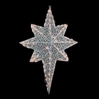 """36"""" Lighted White Glittering Mesh 2-D Star of Bethlehem Christmas Yard Art Decoration"""
